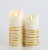 SpecLight, Premium LED Candles, Safe & Flame-less, 100% Real Wax, Soft Flickering Light, with Timer, Moving Wicks, Elegant & Romantic Gold Decoration, Taper Candles, for Windows, Perfect for Christmas, Indoor & Outdoor, Battery Operated, Set of 2, Whit ..