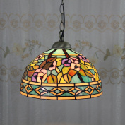 30cm Vintage Gorgeous Flower Stained Glass Tiffany Ceiling Lamp Pendant Lamp Living Room Light Hallway Lamp