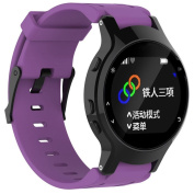 Outsta For Garmin Forerunner 225 Silicone Replacement Wrist Watch Band + Case Cover Purple