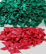 ICRAFY 100 Satin Ribbon Bows Christmas Style Tiny Bows Mini Embellishment Craft Artificial Applique Wedding Dark green & Dark Red Colour size ribbon width 7 mm.