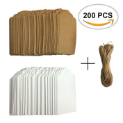 200 Pieces White Brown Kraft Paper Gift Tags Hang Labels with 20 Metres Natural Twine String for Holidays, Gift Tags, Price Tags by ZXSWEET