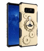 Galaxy Note 8 Case, Ranyi [Gearwheel Armour] [360 Rotating Metal Kickstand] [Shock Absorbing] Premium Hybrid Dual Layer Rugged Protective Case Cover for Samsung Galaxy Note 8 (2017), gold