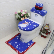 GUAngqi Christmas Bathroom Products 3 pcs / set Xmas Decoration Blue Snowman Toilet Glasses Cover and Back Bathroom New Year Home Decorations,Branches snowman