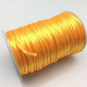 FQTANJU 2mm x 100 yards premium Quality Rattail Nylon Satin Cord Roll, Kumihimo Rattail,Chinese Knot, Gold