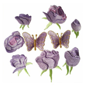 9pcs Purple Small Rose flower butterfly embroidery Iron On Patches(different dize)