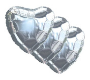 3 pc - 46cm Solid Silver Heart Balloon Wedding Baby Bridal Shower Birthday Luau