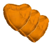 3 pc - 46cm Solid Orange Heart Balloon Wedding Baby Bridal Shower Birthday Luau