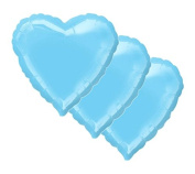 3 pc 46cm Solid Light Blue Heart Balloon Wedding Baby Bridal Shower Birthday Luau