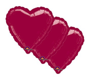 3 pc - 46cm Solid Burgundy Heart Balloon Wedding Baby Bridal Shower Birthday Luau