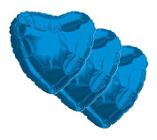 3 pc - 46cm Solid Blue Heart Balloon Wedding Baby Bridal Shower Birthday Luau