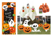 Outdoor Halloween Decor Set - Yard Signs, Door Poster, Small Pumpkin Leaf Bags and Hanging Ghost Decorations