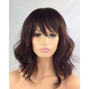 Kims Wigs Ladies Womens Wavy Dark Auburn Brown Shoulder Length Bob