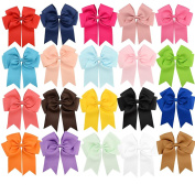 GBATERI 20 Pack Baby Girls 15cm Big Large Jumbo Cheer Hair Bows Clips Boutique Grosgrain Ribbon Alligator Clip Barrettes for Baby Girls Teens Toddlers Kids Children Hair Accessories Gifts Set