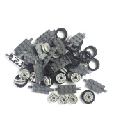 24mmX7mm Tyre,Wheel and Long Axles -50Pices Building Bricks Block Toy For Lego Education Wheels Set