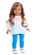 Trendy Girl - 3 piece outfit - white cotton blouse, turquoise leggings and white shoes