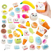 Kawaii Mini Soft Squishy Toys, 30-Pack Cute Squishies, Plush Squeeze Toys, Stress Relief Slow Rising Squishies, Squishy Phone Charms