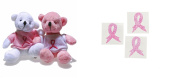 12 Breast Cancer Plush Bears With T-Shirts + 12 Free Pink Awareness Face Tattoo's
