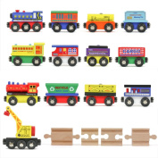 12 Wooden Train Cars, 1 BONUS Crane, & 4 BONUS Connectors by Tiny Conductors - Locomotive Tank Engines & Waggons for Toy Tracks; Compatible with Thomas and Other Major Brands Toy Railroad Set