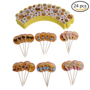 37YIMU 24 Pcs Emoji Cupcake Toppers And Wrappers For Cake Decorations