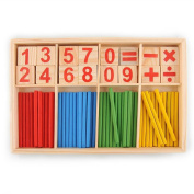 52 Spindles Wooden Number Sticks Montessori Number Cards and Counting Rods with Box Mathematics Material Educational Toy for Kid Children Toddlers by D & & R