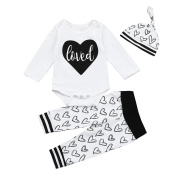 Momola 3pcs Newborn Baby Outfit Infant Letter Print Romper Tops+Heart Pants+Hat Unisex Clothes Set, for 3-18 Months Toddler Girls Boys