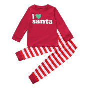 sunnymi 2Pcs My First Christmas Clothes Set Newborn Infant Toddler Kids Baby Boy Girl Santa Claus Deer Tops+Stripe Pants Outfits