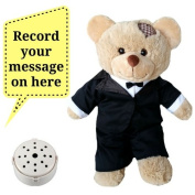 Splodge Recordable Gift Bear- 20cm Brown Tuxedo Wedding Teddy Bear - Record a 20 second personal message and send in a bear
