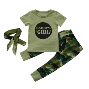 3Pcs Newborn Toddler Baby Girls Letter Tops Camouflage Pants Outfits Set Clothes Beauty Top