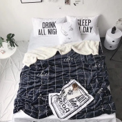 Skin Milk Blanket Soft spring Autumn Winter Blankets for Bed / office / sofa rest comfortable blanket black and white plaid, 150*200