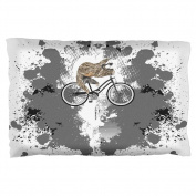 Bicycle Sloth Funny Grunge Splatter Pillow Case Multi Standard One Size