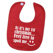 'As it's my first christmas, feel free to spoil me' funny cute unisex baby hook and loop feeding bib