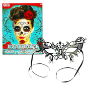 Day of the Dead Face Tattoos and Mask Costume Kit -- Black Lace Mask and 2 Day of the Dead Face Tattoos