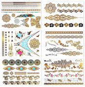 Metallic Temporary Tattoos, PrettyDate 6 Sheets 75+ Henna Designs in Gold Silver Black, Fake Glitter Jewellery Tattoos- Bracelets, Necklaces, Wrist, Anklets and Armbands(Mandala Collection)