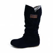 . Women Boots,Canserin Women's 2017 Women's Autumn Winter Knee High Boots Flat Heel Nubuck Motorcycle Boot Shoes (6 B