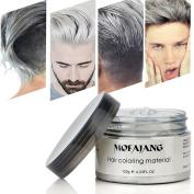Hair Wax , Silver Grey Hair Colour Wax, Temporary Hair Mud Cream, Fresh and Natural Hairstyle Pomades, Natural Matte Hairstyle Hair Dye Wax for Daily use Party, Cosplay