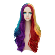 Alacos Rainbow Colour Long Curly Gothic Lolita Harajuku Anime Cosplay Christmas Costume Wig for Women +Free Wig Cap