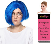 Sadness Inside Out Colour Blue - Enigma Wigs Women's Sad Emotion Personality Disney Pixar Bundle with Wig Cap, MaxWigs Costume Wig Care Guide