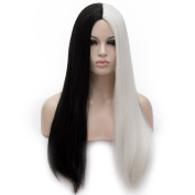 Women's Cosplay Long Straight Wig Synthetic Ombre Two Tone Heat Resistant Cosplay Costume Wig Half Black Half White Wig 70cm