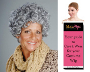 Nanna Grandma Colour Mixed Grey - Enigma Wigs Women's Curly Mamas Family Gramma Short Bundle with Wig Cap, MaxWigs Costume Wig Care Guide