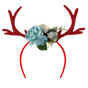 OULII Funny Deer Antler Headband with Flowers Blossom Novelty Hair Band Christmas Fancy Dress Costumes Accessory