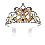 BABEYOND Golden Flower Black Crystal Rhinestone Tiara Headband Happy Birthday 30th/40th Birthday Crown Comb Pin
