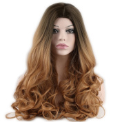 Dreambeauty Ombre Long Wave Synthetic Hair Full Wig Heat Resistant Dark Root Free Part 60cm for Women