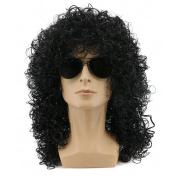 Yuehong Men's Rocker Cosplay Long Curly Black Wig