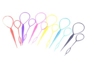 Teemico 12 Pieces Plastic Magic Topsy Tail Hair Braid Ponytail Styling Maker Clip Tool Hair Styling Accessories,6 Colours