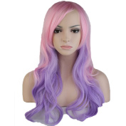 Anime Cosplay Wigs Layered Ombre 60cm Long Wavy with Bangs Full Wigs for Women Ladies Costume 7 Styles Pink Purple