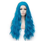YOURWIGS Long Curly Wavy Wigs for Women Blue Cosplay Fluffy Hair Wigs Full Synthetic Halloween Wigs with Wig Cap Z081A