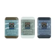 DEAD SEA Salt Mud Charcoal – Soap Variety Pack, Dead Sea Mud, Dead Sea Salt, Activated Charcoal. With Shea Butter, Argan Oil. All Skin type, Problem Skin. Acne Treatment, Eczema, Psoriasis, 90ml Bars