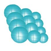 Quasimoon IRR-TU-CP12 12pcs Pack (12/3.2cm ) Paper Lanterns Crisscross Ribbing, Turquoise, 12 Piece Set