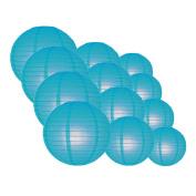 Quasimoon EVP-TU-CP12 12pcs Pack (12/3.2cm ) Paper Lanterns Even Ribbing, Turquoise, 12 Piece Set