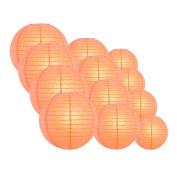 Quasimoon EVP-CR-CP12 12pcs Pack (12/3.2cm ) Paper Lanterns Even Ribbing, Roseate / Pink Coral, 12 Piece Set